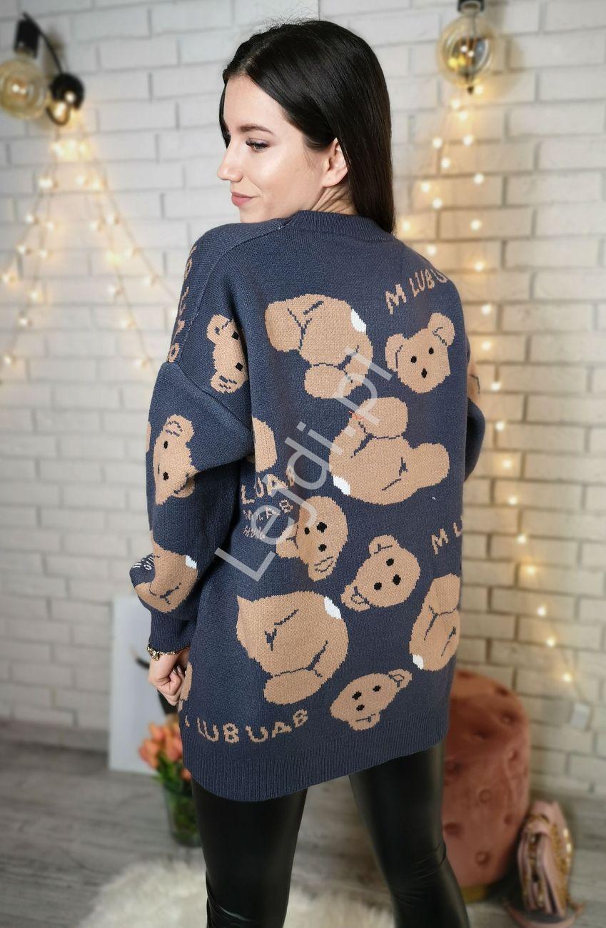 Ciepły sweter z misiami, grafitowy, uni - Lejdi