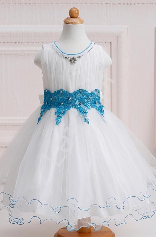 Cudowna biała sukienka z błękitną koronką i kryształkami | sukienki dla dziewczynek - Lejdi