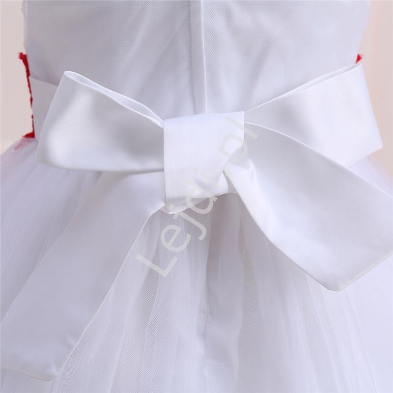 00b5fed833 Cudowna biała sukienka z błękitną koronką i kryształkami dla dziewczynek