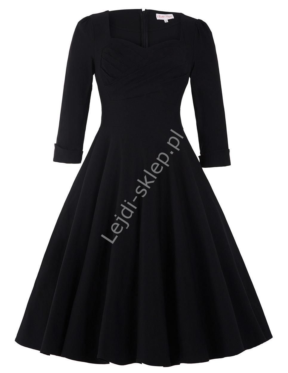 Czarna bawełniana sukienka pin-up z długim rękawkiem, swingdress 131 - Lejdi