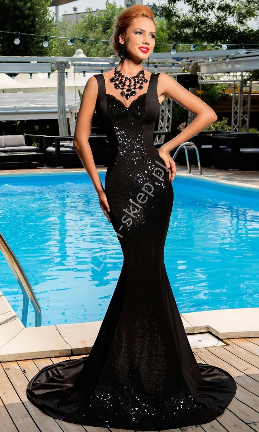 Czarna cekinowa długa sukienka | sukienki sylwetrowe, karnawałowe - Lejdi