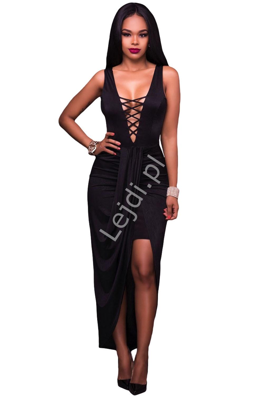Czarna długa suknia na ramiączkach | długie czarne sukienki 643 - Lejdi