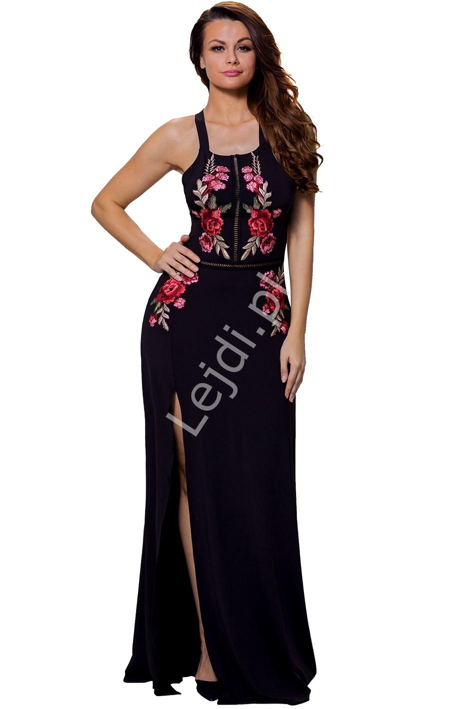 Czarna długa suknia wieczorowa w naszyte kwiaty 448 - Lejdi
