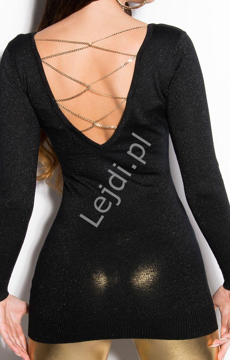Czarna dzianinowa wełniana tunika z łańcuszkami na dekolcie 160 - Lejdi