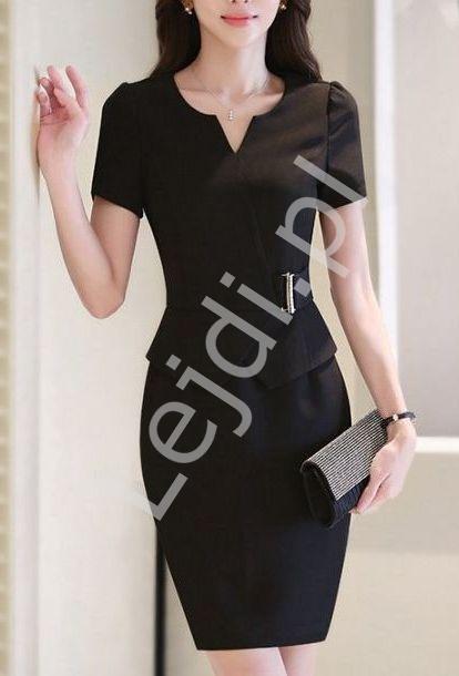 Czarna elegancka sukienka do pracy, na rozmowę o pracę 3068 - Lejdi