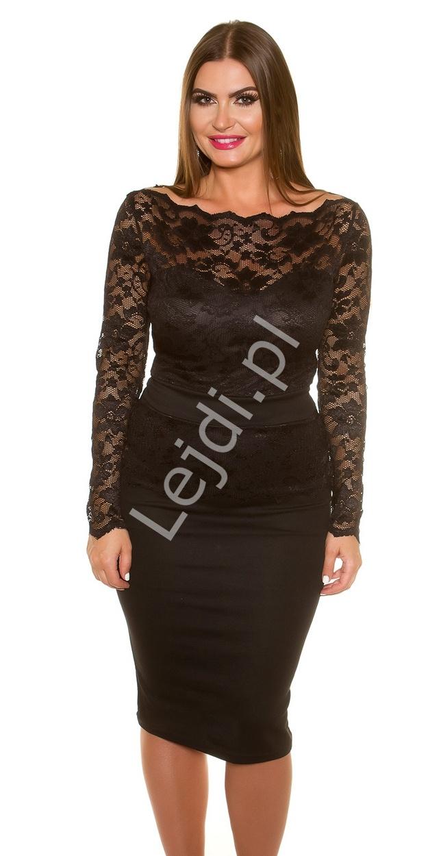 Czarna elegancka sukienka koronkowa plus size 334p -5 | Sukienki koronkowe duże rozmiary - Lejdi