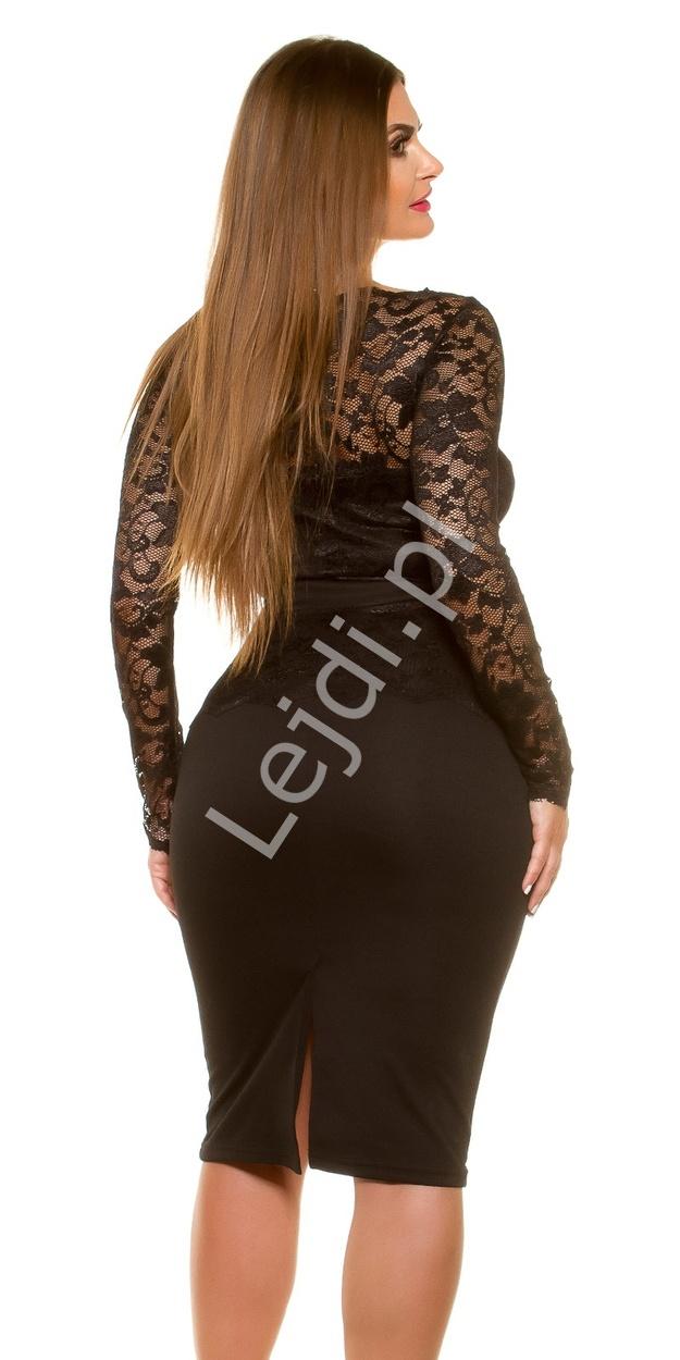 c1dc40df3d Czarna elegancka sukienka koronkowa plus size 334p -5 duże rozmiary ...