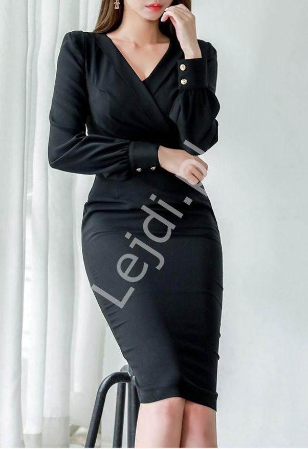 Czarna elegancka sukienka z kopertowym dekoltem 2306 - Lejdi