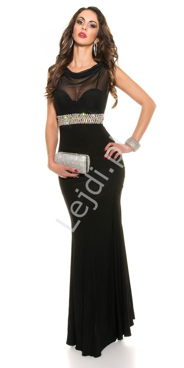 Czarna elegancka wieczorowa sukienka z szyfonowym dekoltem typu woda - Lejdi