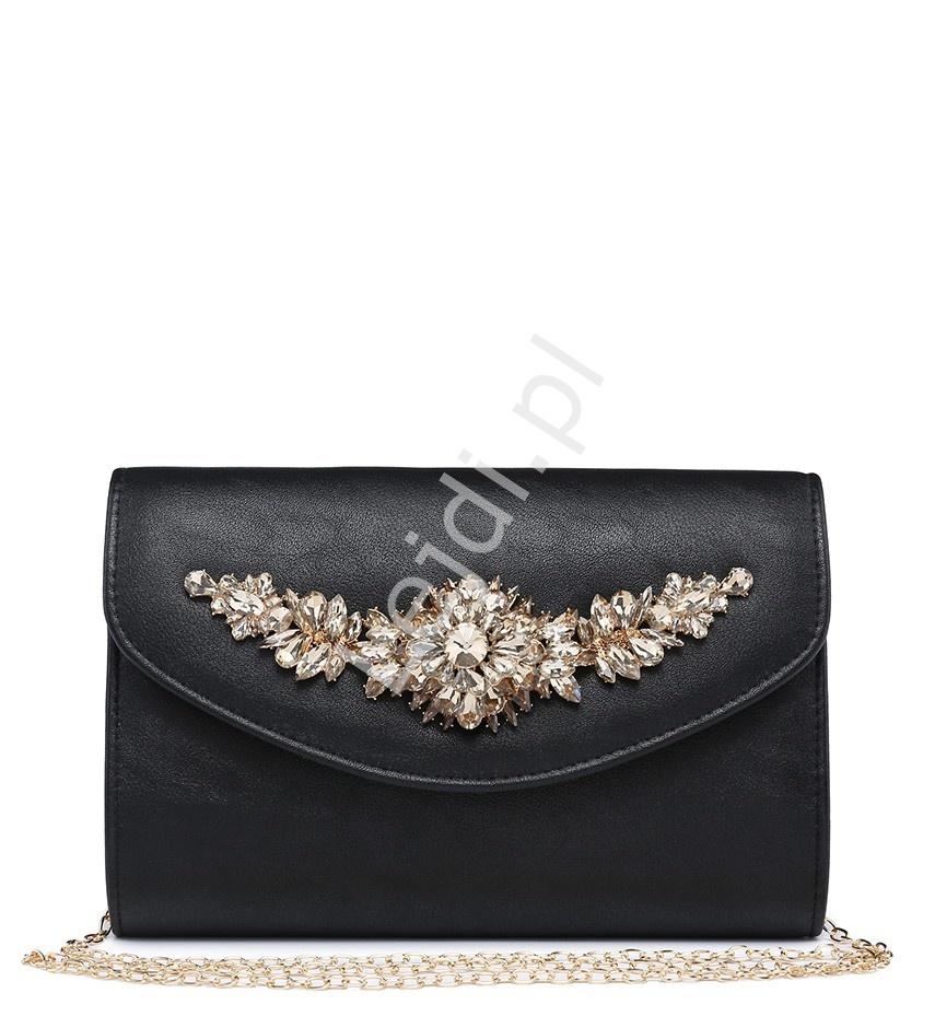 09eabff71f547 Czarna kopertówka z błyszczącymi kryształkami 3D, zdobione torebki  wieczorowe - 019