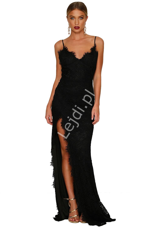 b3e7de8026 Czarna koronkowa długa suknia wieczorowa 696 - Lejdi.pl