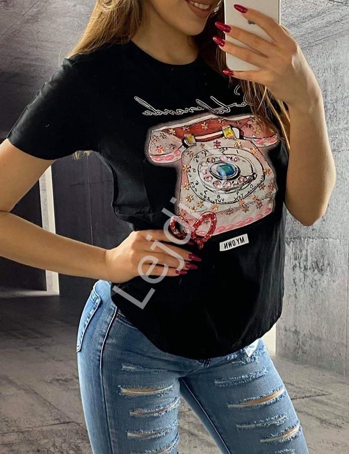 Czarna koszulka damska z zdobionym telefonem, modne T-shirty damskie - Lejdi