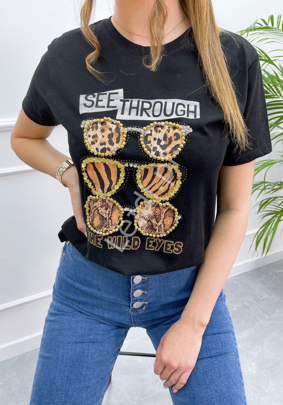 Czarna koszulka z okularami z zwierzęcym printem, t-shirt damski z kryształkami - Lejdi