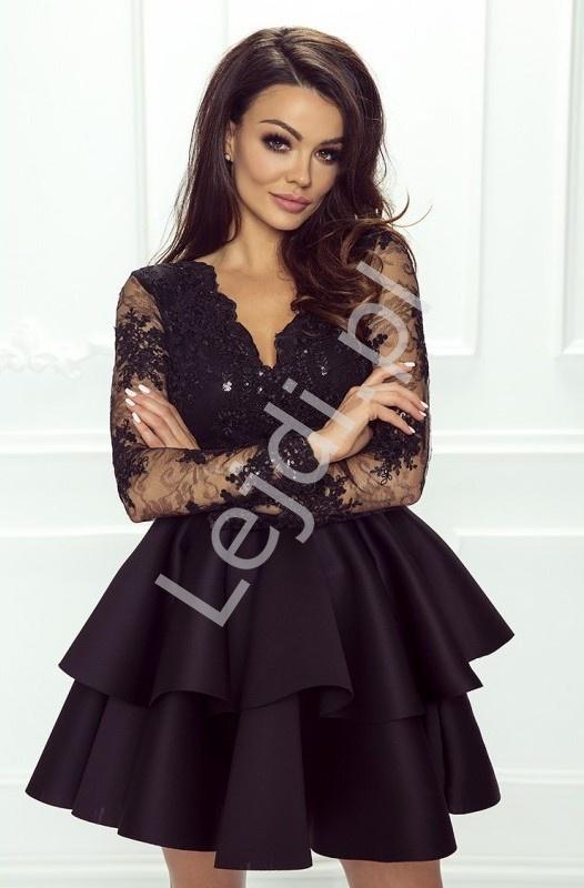 Czarna krótka sukienka z falbaną | Sukienka wieczorowa Lili - Lejdi