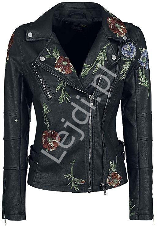 Czarna kurtka z skóry ekologicznej z kwiatowym haftem Khujo Walentina - Lejdi