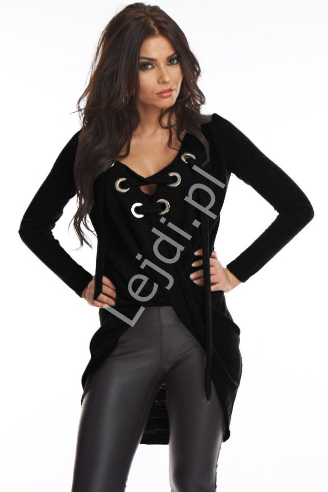 Czarna narzuta | narzutka - bluzka sznurowana 102 - Lejdi
