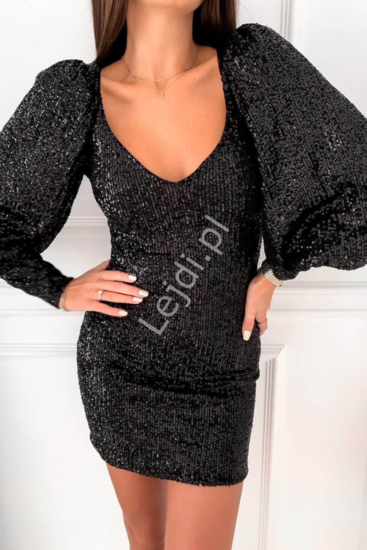 Czarna obcisła sukienka cekinowa z bufkami na rękawach 127 - Lejdi