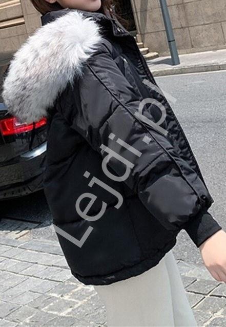 Czarna oversizowa kurtka młodzieżowa na zimę 3736 - Lejdi