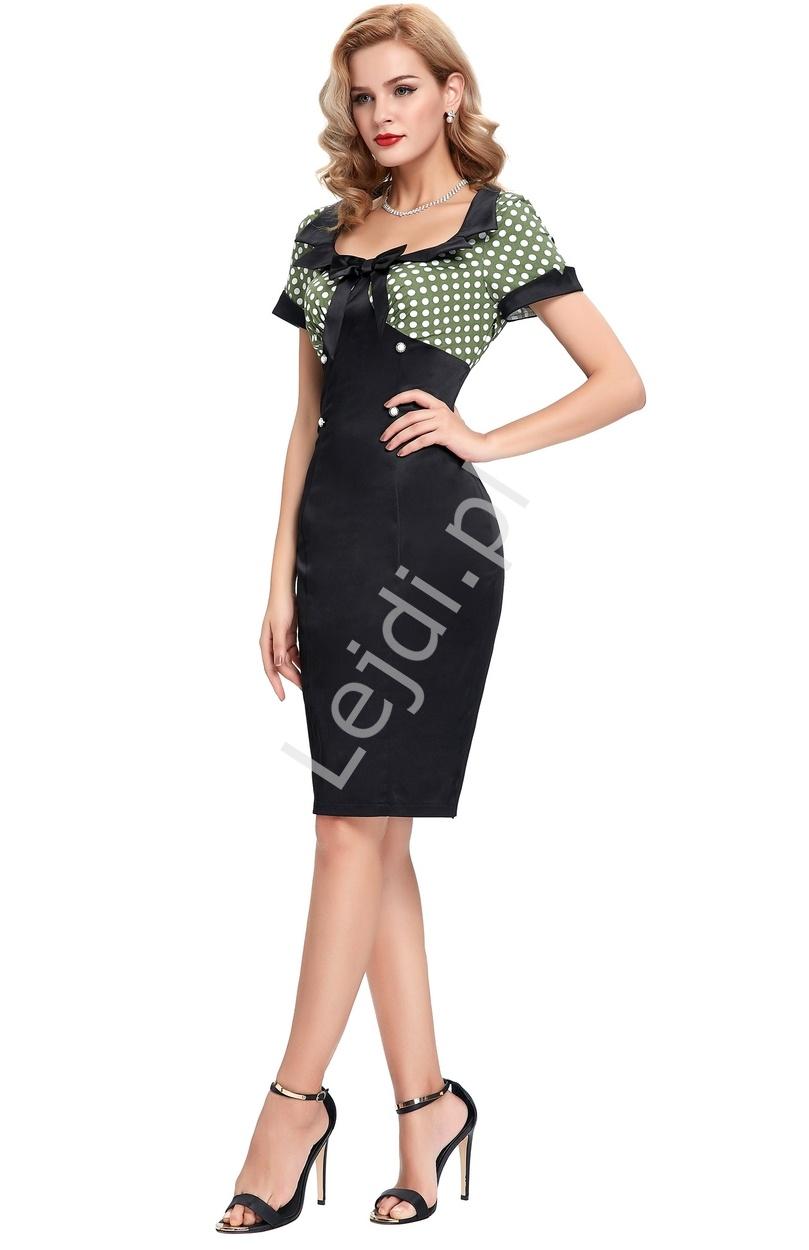 Moda biurowa retro - sukienka w groszki