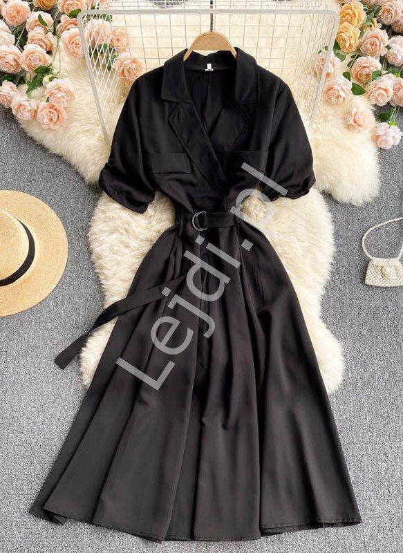 Czarna rozkloszowana sukienka w stylu retro 4322 - Lejdi