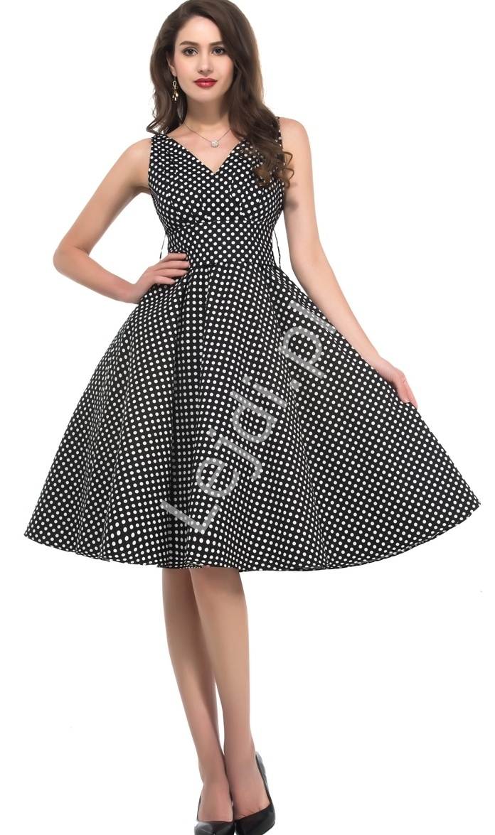 Czarna rozkloszowana sukienka pin up w kropki, idealna na wesele 6295-1 - Lejdi