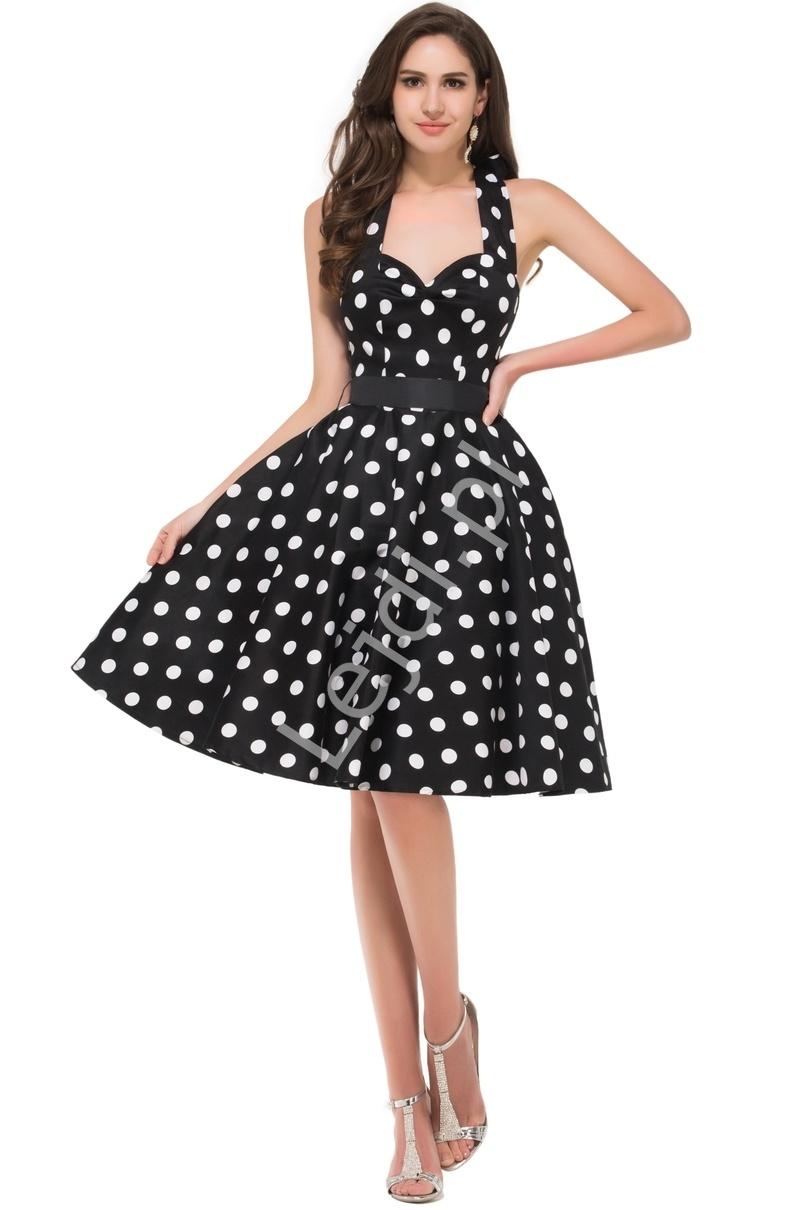 Czarna rozkloszowana sukienka w duże kropki | sukienka pin up na wesele 4599-1 - Lejdi