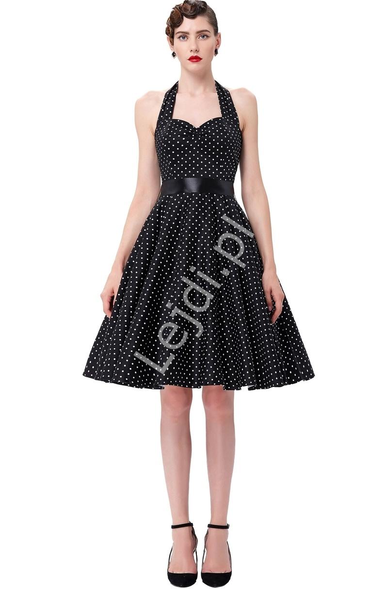 Czarna rozkloszowana sukienka w białe kropeczki | sukienka pin up na wesele 4599-3 - Lejdi