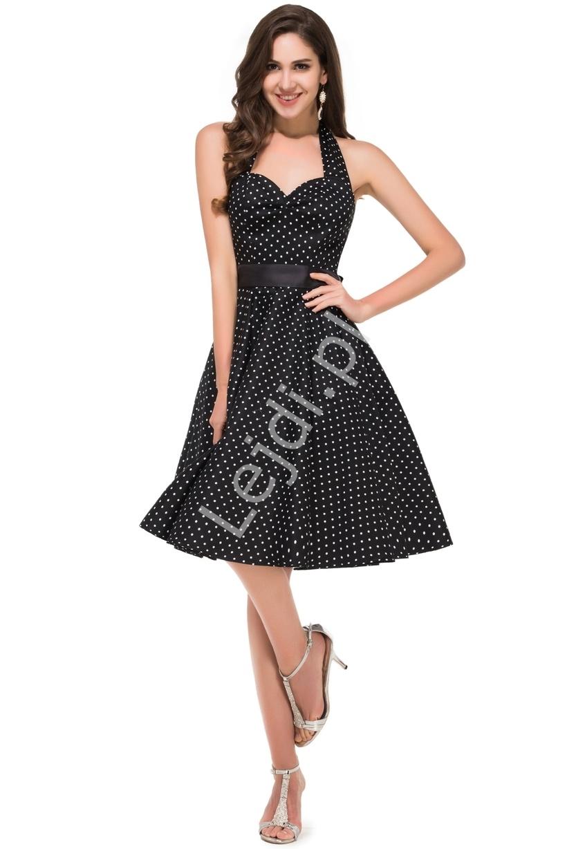 Czarna rozkloszowana sukienka w białe kropeczki, pin up na wesele 4599-4 - Lejdi