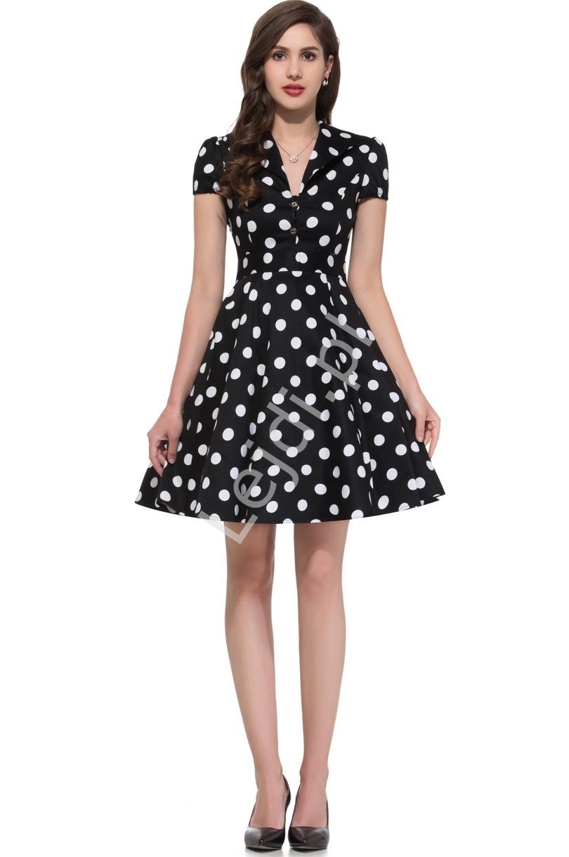 Czarna rozkloszowana sukienka w duże białe kropki, pin up na wesele 6089-5 - Lejdi