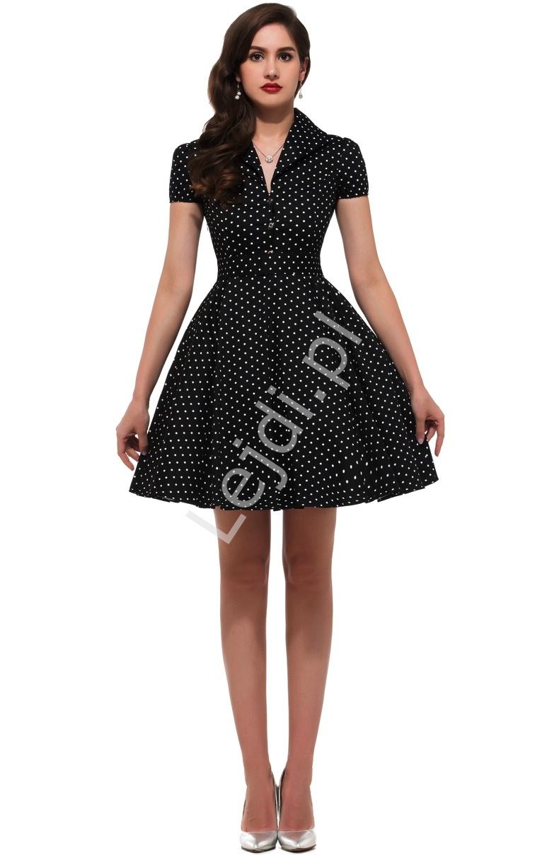 Czarna rozkloszowana sukienka w drobne białe kropki, pin up na wesele 6089-9 - Lejdi