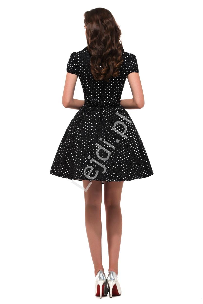 111f82f1ef Czarna rozkloszowana sukienka w drobne białe kropki