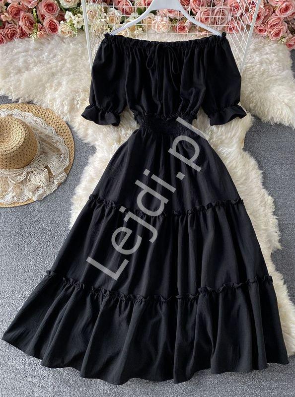 Czarna sukienka letnia z falbanami hiszpanka 1148 - Lejdi