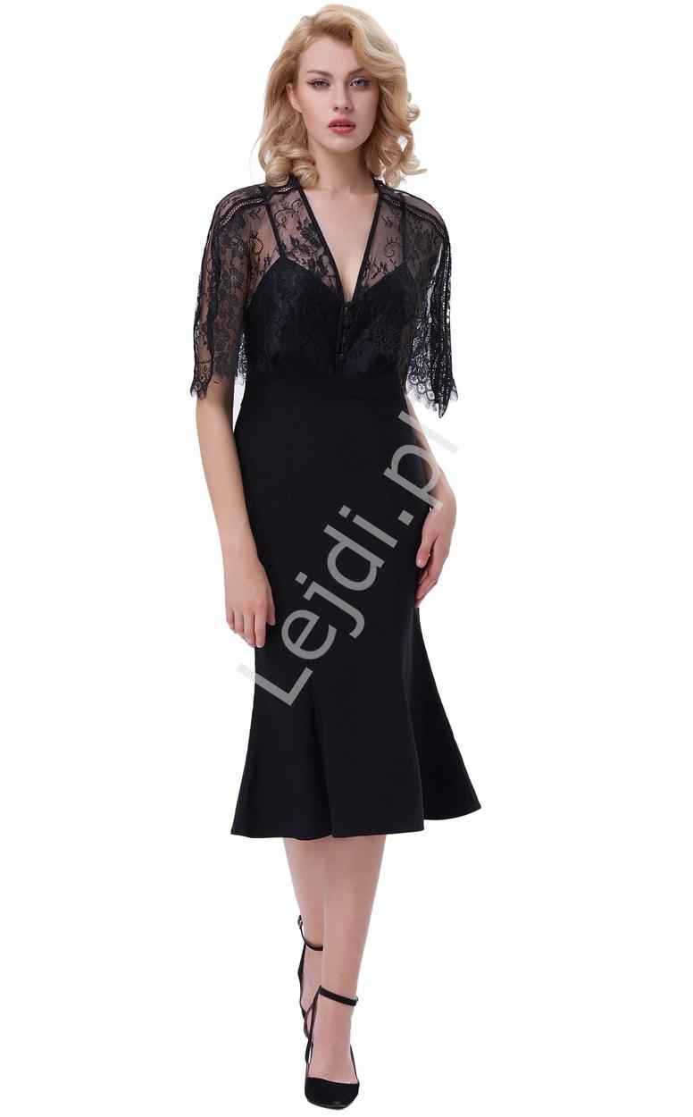 Czarna sukienka na ramiączkach z koronkową narzutką, długość do kolan 330 - Lejdi
