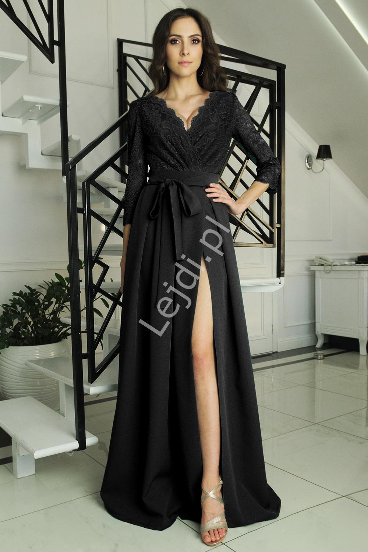 Czarna sukienka na studniówkę z koronkowym rękawem 3/4, m386 - Lejdi