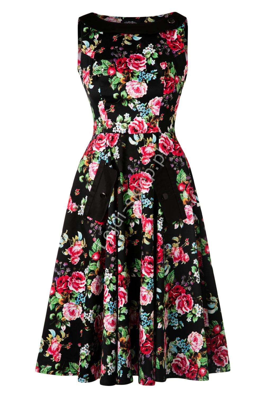 648ca9a5e5 Czarna sukienka pin-up czarna w kolorowe kwiaty r.36 - r.48 ...