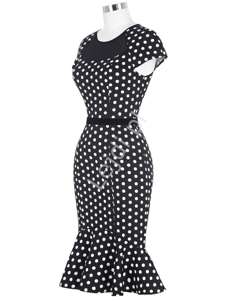5cab309b0f Czarna sukienka w kropki z falbaną na dole lata 50te