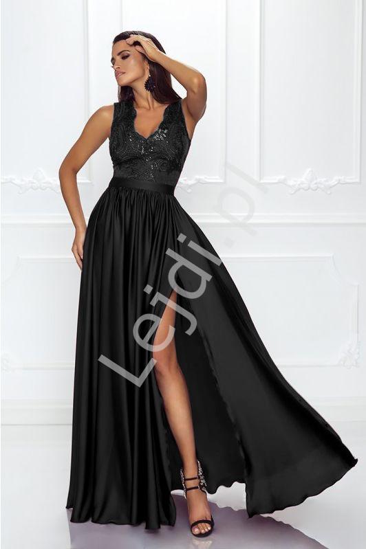Czarna sukienka wieczorowa z cekinami i koronką- Juliette 2 - Lejdi