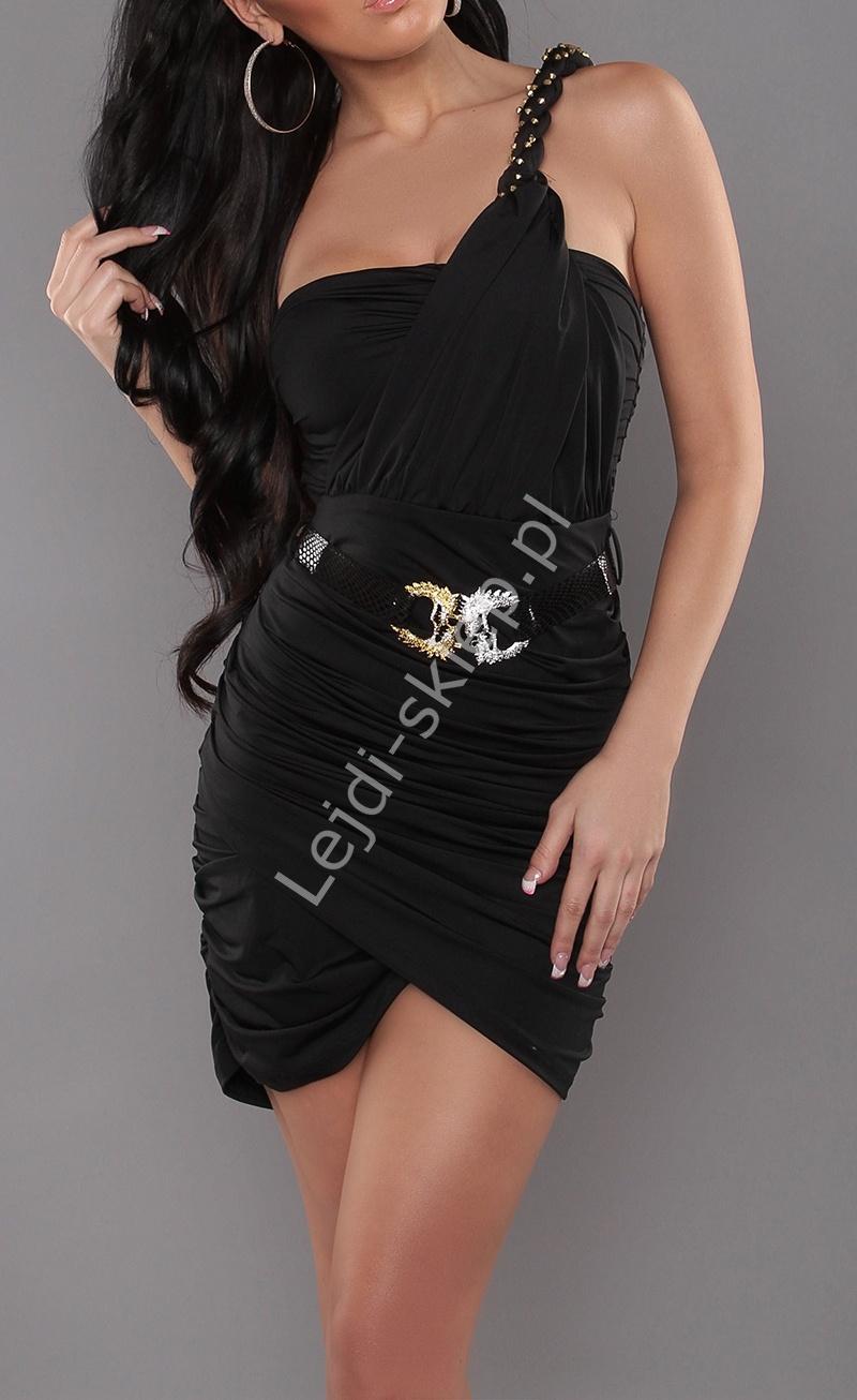 Czarna sukienka z kopertowymi zakładkami na jedno ramię w greckim stylu - Lejdi