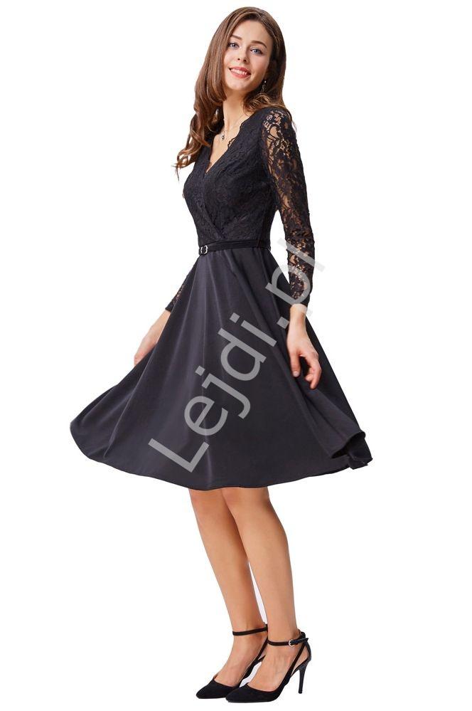 Czarna sukienka z koronką - Lejdi