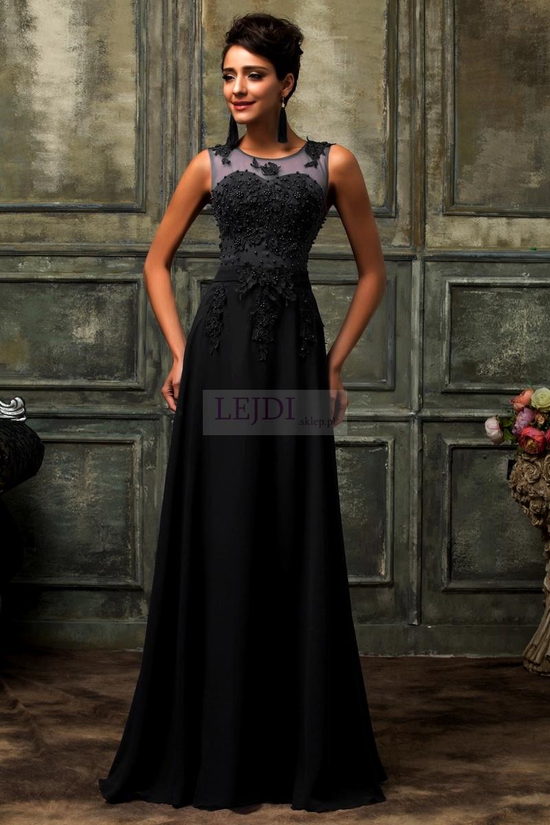 Czarna suknia wieczorowa z perłami - Lejdi