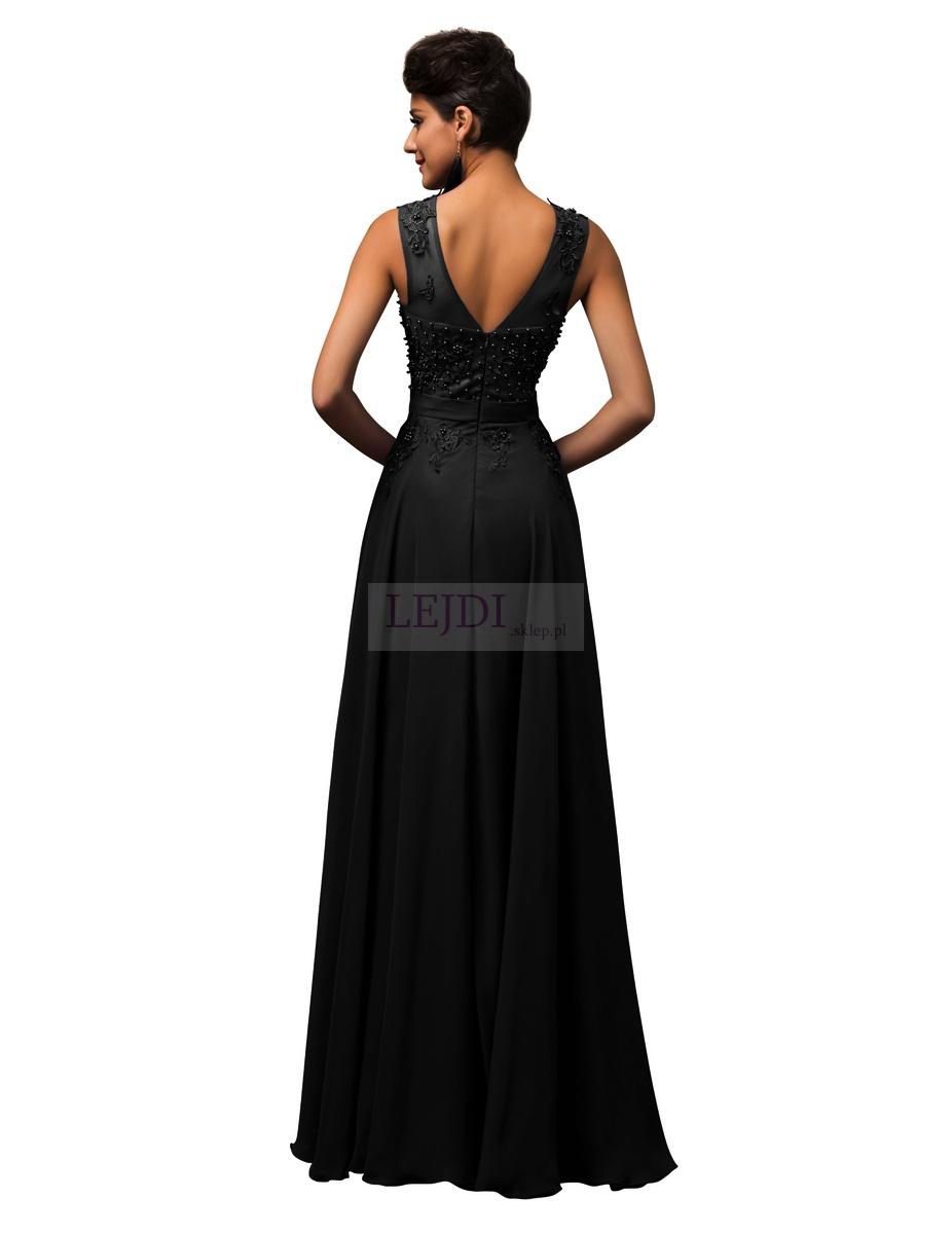 3607167d29 Czarna suknia wieczorowa z perłami - Lejdi.pl