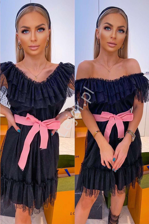Czarna tiulowa sukienka w groszki, Tiara - Lejdi