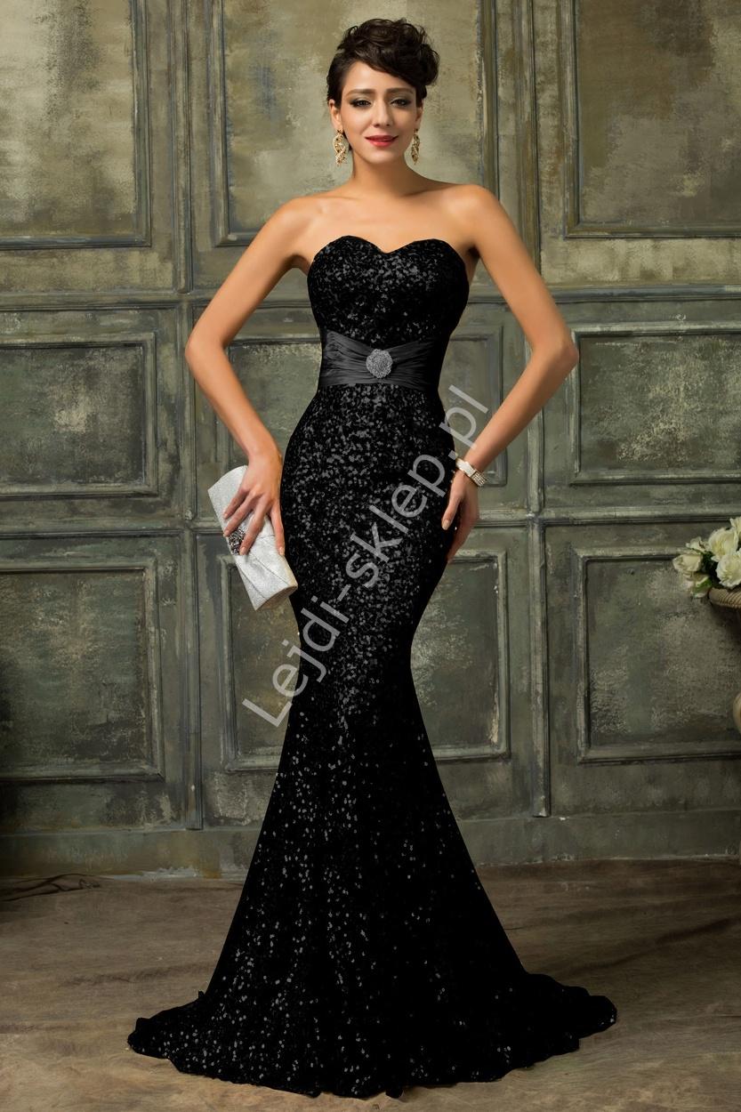 Czarna wieczorowa cekinowa suknia wieczorowa   suknie karawałowe, estradowe - Lejdi