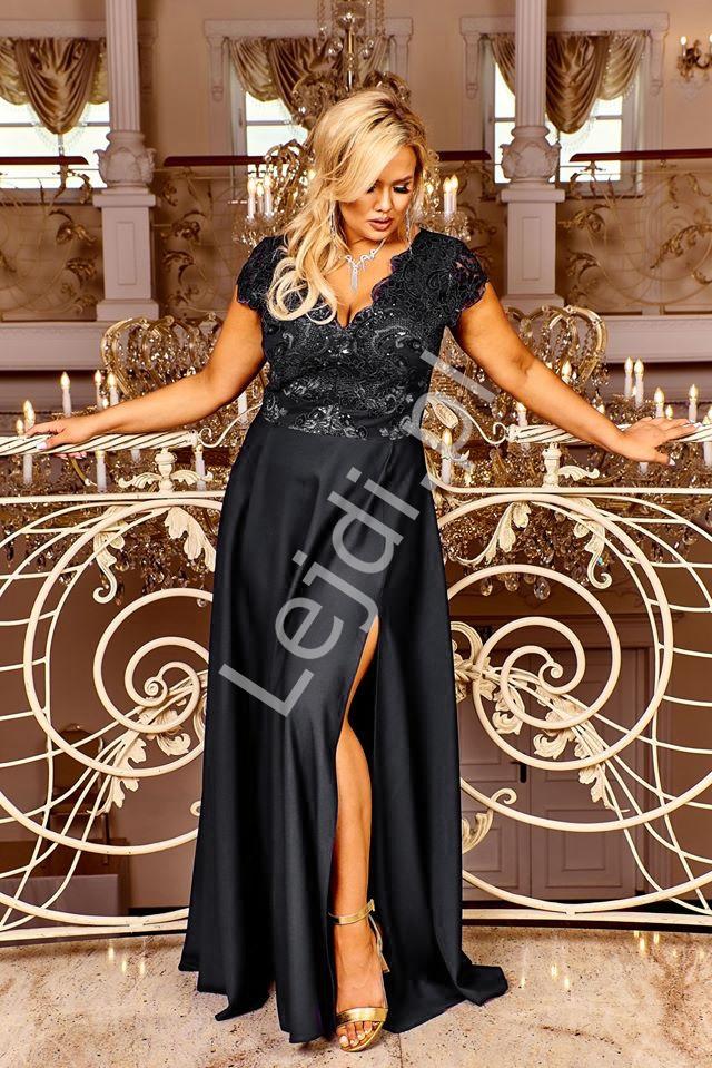 Czarna wieczorowa sukienka z rozcięciem ukazującym nogę Crystal 2 - Lejdi