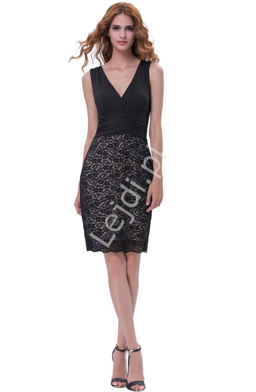 Czarna wysmuklająca sylwetkę sukienka z koronką, 1082 - Lejdi