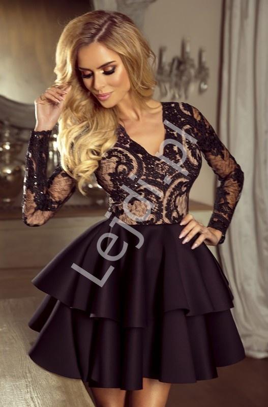 Czarno beżowa krótka rozkloszowana sukienka z falbaną | Sukienka wieczorowa Lili - Lejdi