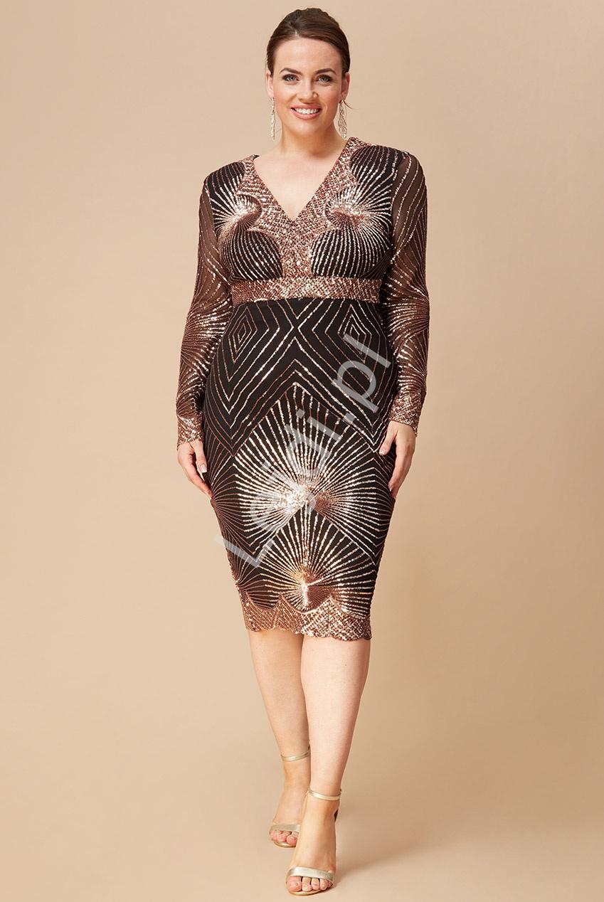 Czarno złota sukienka cekinowa plus size Goddiva 2617p - Lejdi