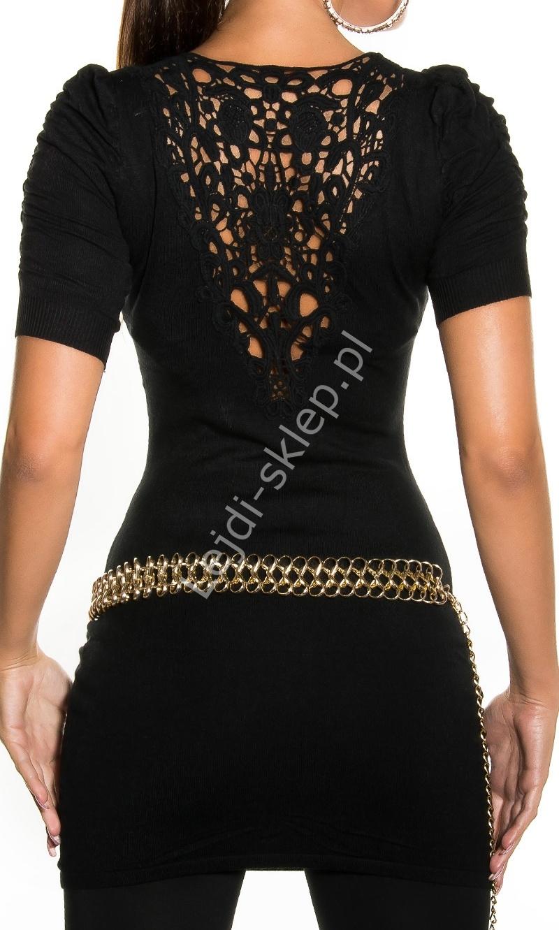 Czarny damski sweter / tunika z ozdobną koronką na plecach | czarne młodzieżowe swetry damskie - Lejdi