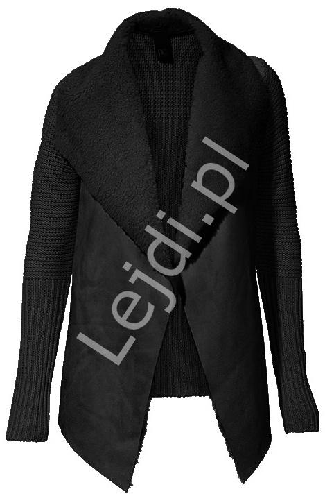 Czarny dziergany sweter - narzutka z kożuszkiem - Lejdi