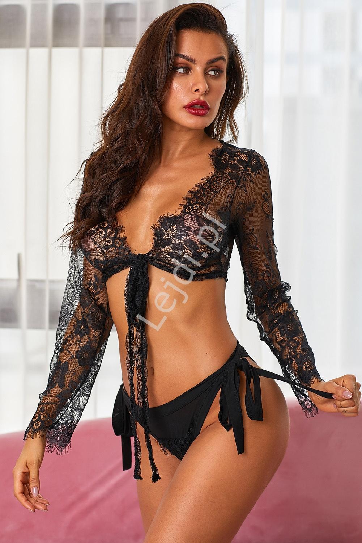 Czarny seksowny komplet koronkowy, narzutka + majtki 107 - Lejdi
